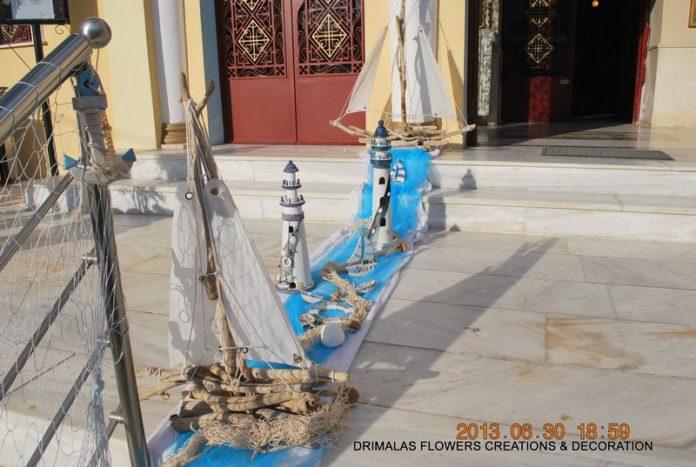 στολισμος βαπτισης με καραβακια