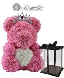 Αιωνια τριανταφυλλα, Τεχνητα τριανταφυλλα, Αρκουδάκι από Λουλούδια , Χειροποίητο αρκουδάκι από λουλούδια