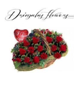 Καλάθι με κόκκινα τριαντάφυλλα,αποστολή λουλουδιών
